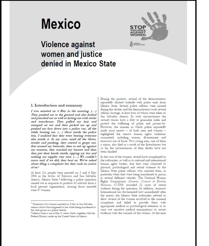 Mexico Violence against women and justice denied in Mexico State