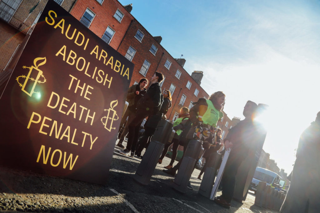 Amnesty International activists protest executions in Saudi Arabia