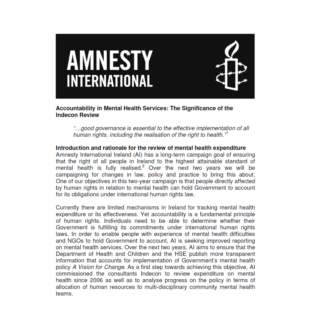 Amnesty International - Government Spending on Mental Health
