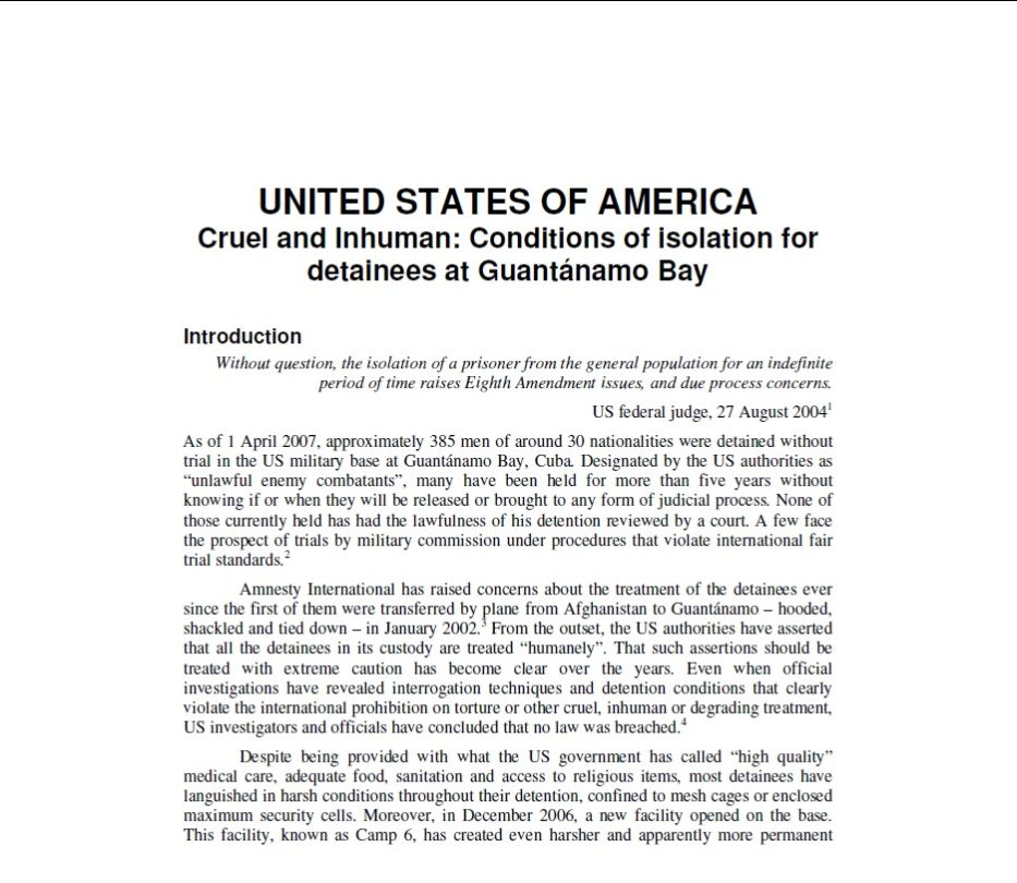 Cruel and Inhuman Conditions of isolation for detainees at Guantánamo Bay