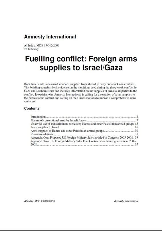 Fuelling conflict Foreign arms supplies to Israel Gaza