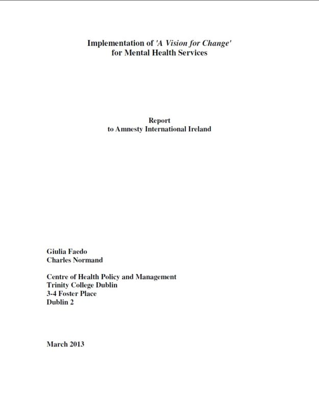 Implementation of 'A Vision for Change' for Mental Health ...
