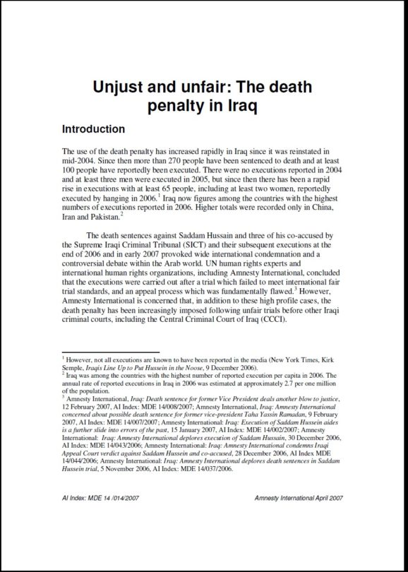Unjust and unfair The death penalty in Iraq