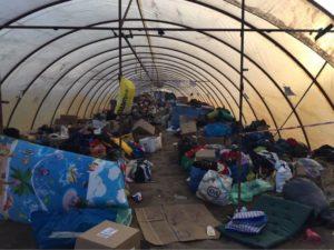 Refugees in shelter