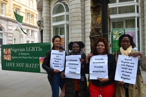 A group of young women demonstrated in front of the Nigerian High Commission calling for equal rights. Under Nigerian law, members of the gay, lesbian and bisexual community can be jailed for as long as 40 years.