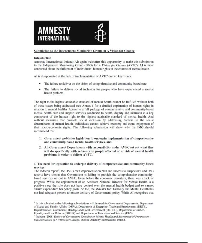 Mental Health Vision Amnesty International Ireland