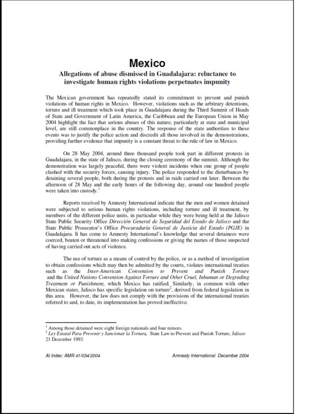 Mexico Allegations of abuse dismissed in Guadalajara reluctance to investigate human rights violations perpetuates impunity