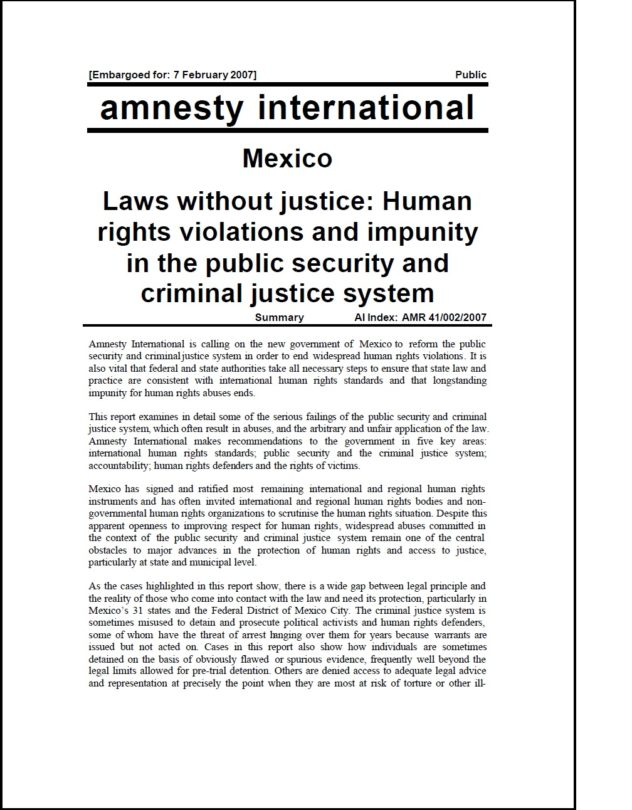 Mexico Laws without justice Human rights violations and impunity in the public security and criminal justice system