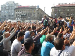 Refugees and migrants in Hungary protest at Keleti station