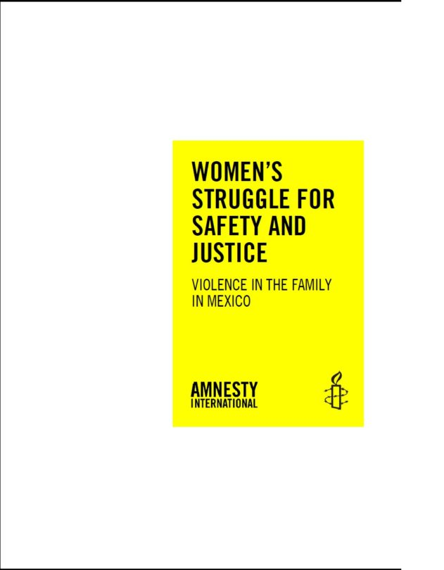 WOMEN'S STRUGGLE FOR SAFETY AND JUSTICE Violence in the family in Mexico