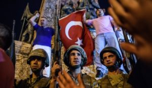 Turkish solders at Taksim square as people react in Istanbul on July 16, 2016 (Photo credit: OZAN KOSE/AFP/Getty Images)