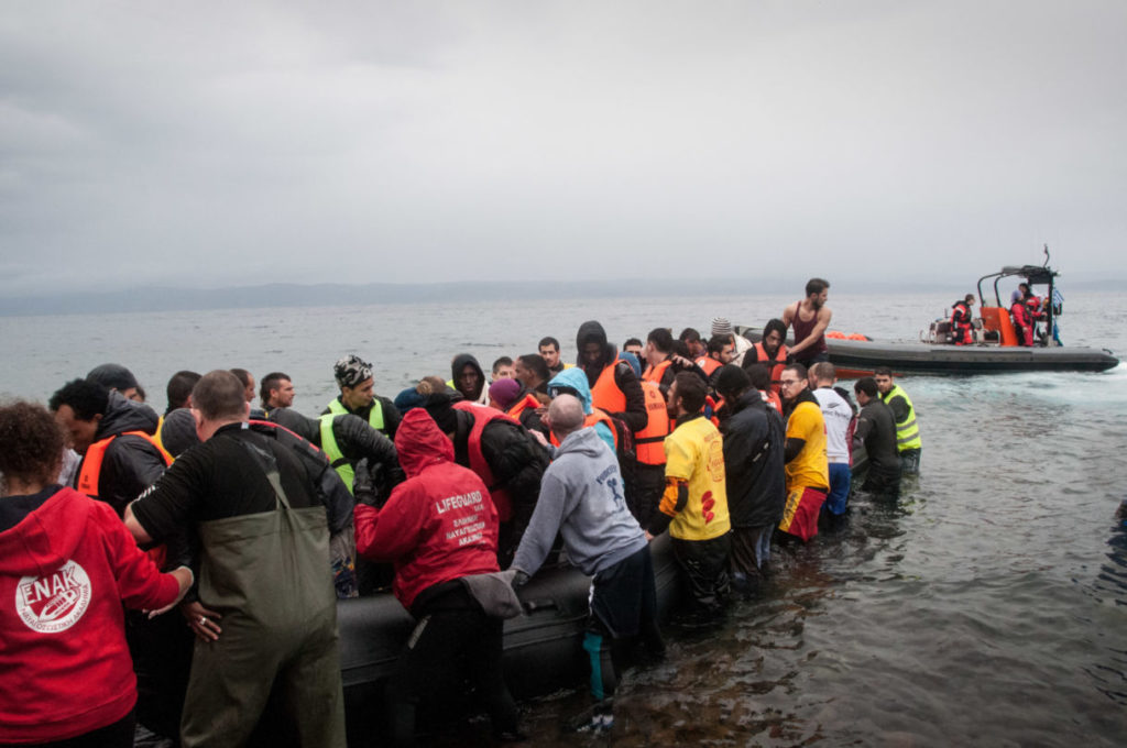 Refugees arriving by boat to Lesvos, Greece, from Turkey. The refugees, primarily from Syria and Afghanistan, were received by volunteers at the North shore of the Island and escorted to Moria registration camp. From there most would travel via Athens into other EU countires to seek asylum.