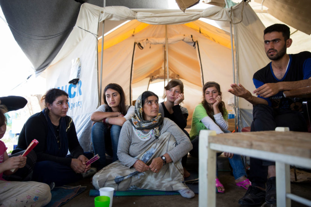 Kurtey Ismaed a Yazidi from Northern Iraq living at the Nea Kavala camp in Norther Greece, 11 July 2016.  'We don't feel safe in the camp. We want our voices to be heard.'  (Message for EU leaders) 'Get us out of here. We (Yazidis) need to travel together. The most important thing for us is that our children go to school. Education is the basis for their future.'  The Nea Kavala camp is situated 10 minutes-drive from the town of Polykastro near the borders of Greece with the FYR of Macedonia. The site is run by the army. Previously, the camp was used as the local flying club and the land is owned by the Greek Ministry of Defence. At the time of the visit, there were 2,368 refugees at the camp including many children. The main nationalities are Iraqi Yezidis and Syrian Arabs. NGOs have identified 10 unaccompanied children and several separated children.