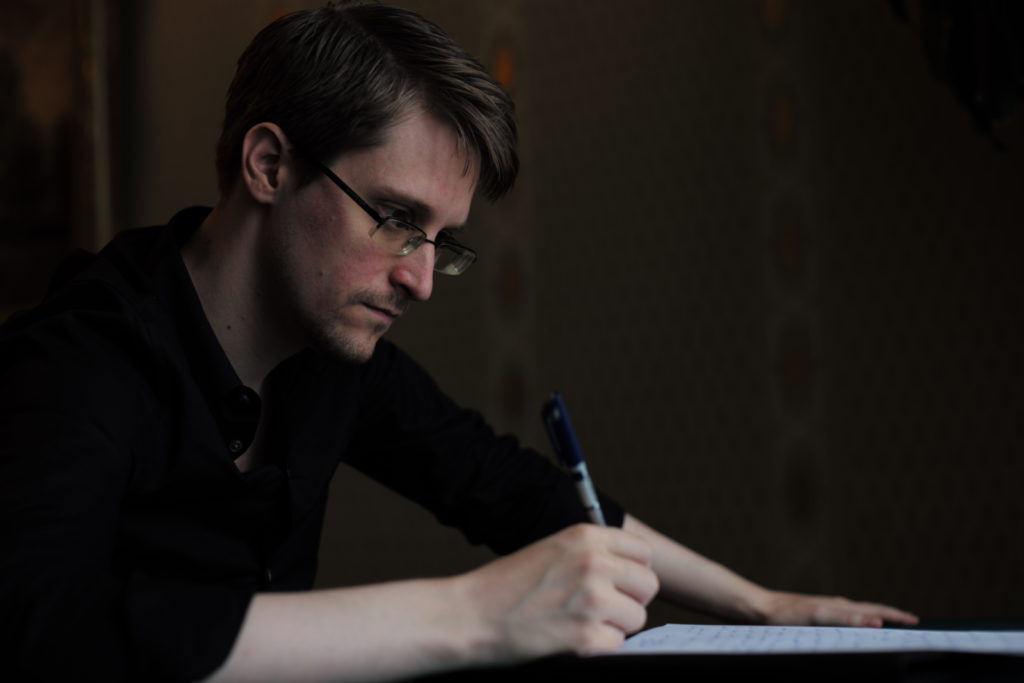 Edward Snowden, in Moscow, Russia, 16 October 2016. Snowden was a former intelligence officer who served the CIA, NSA, and DIA for nearly a decade as a subject matter expert on technology and cybersecurity. In 2013, he revealed the NSA was unconstitutionally seizing the private records of billions of individuals who had not been suspected of any wrongdoing.