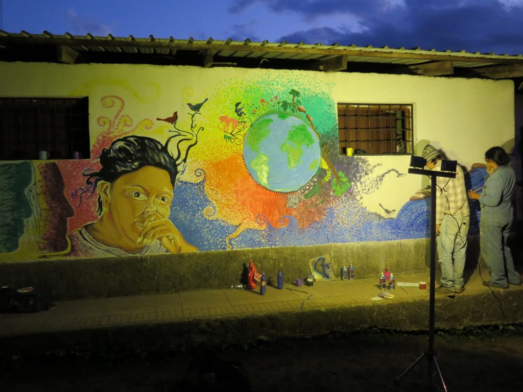Murals painted in the walls of the Utopía Community Center of COPINH in La Esperanza. Pictures taken during the field mission organized by the Americas HRDs Team to Honduras in the aftermaths of Berta Caceres' murder. Honduras, 14/03/2016