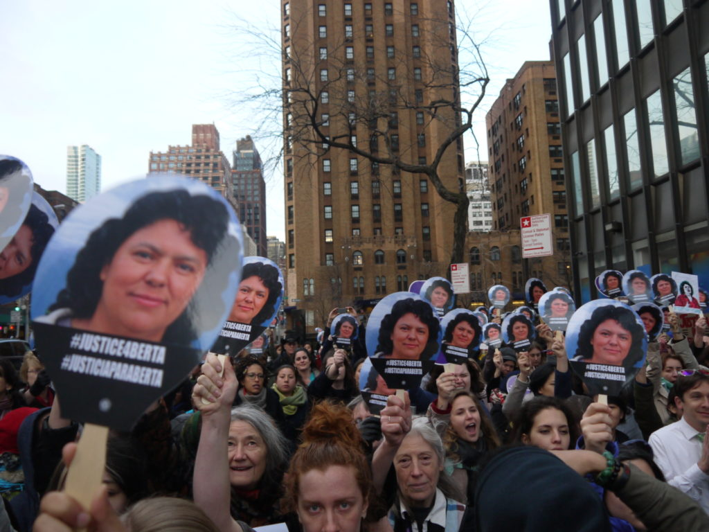 Rally held in New York city on 17 March 2016, at the time of the 60th session of the Commission on the Status of Women, calling for an investigation into the killing of Berta Caceres in Honduras on 3 March #JusticiaParaBerta