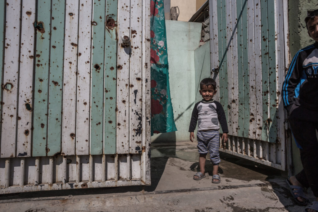 Two children were killed due to mortar shrapnel which pierced through their metal front gate in al-Zahra. March 14, 2017.