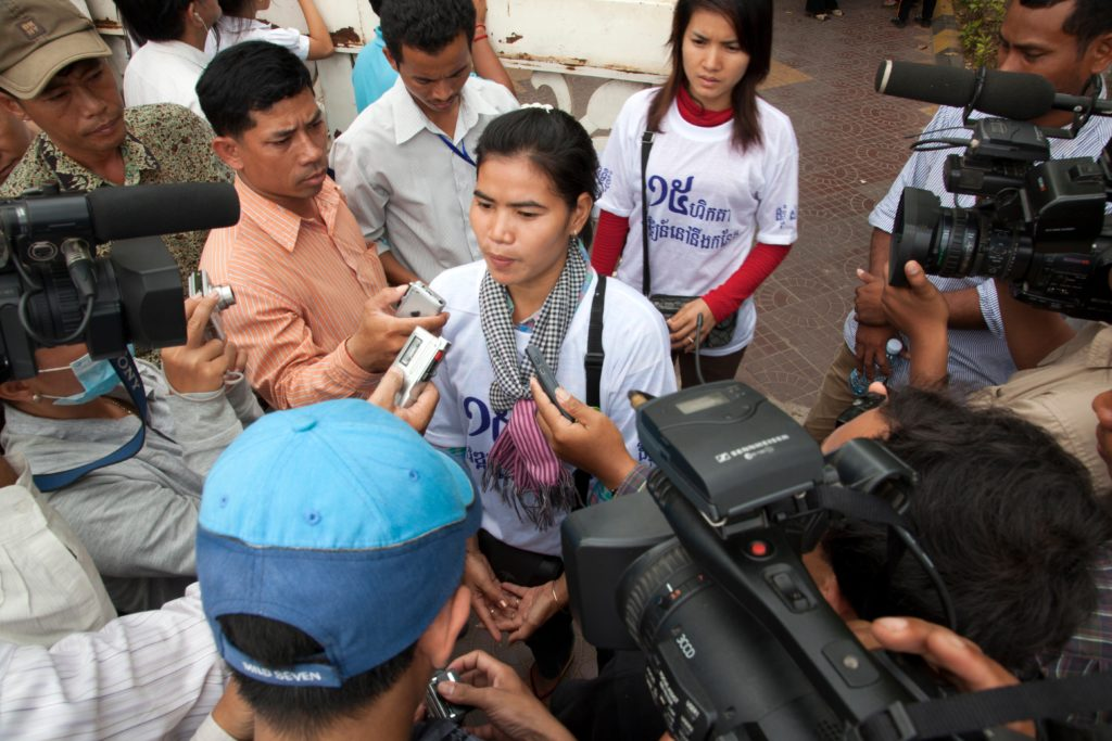 Tep Vanny giving an interview, Phnom Penh, Cambodia, 21 March 2011.