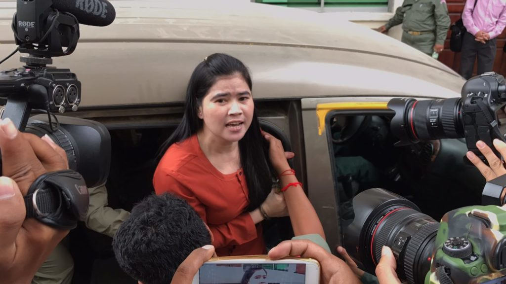 Imprisoned human rights defender Tep Vanny arrives for a court appearance.