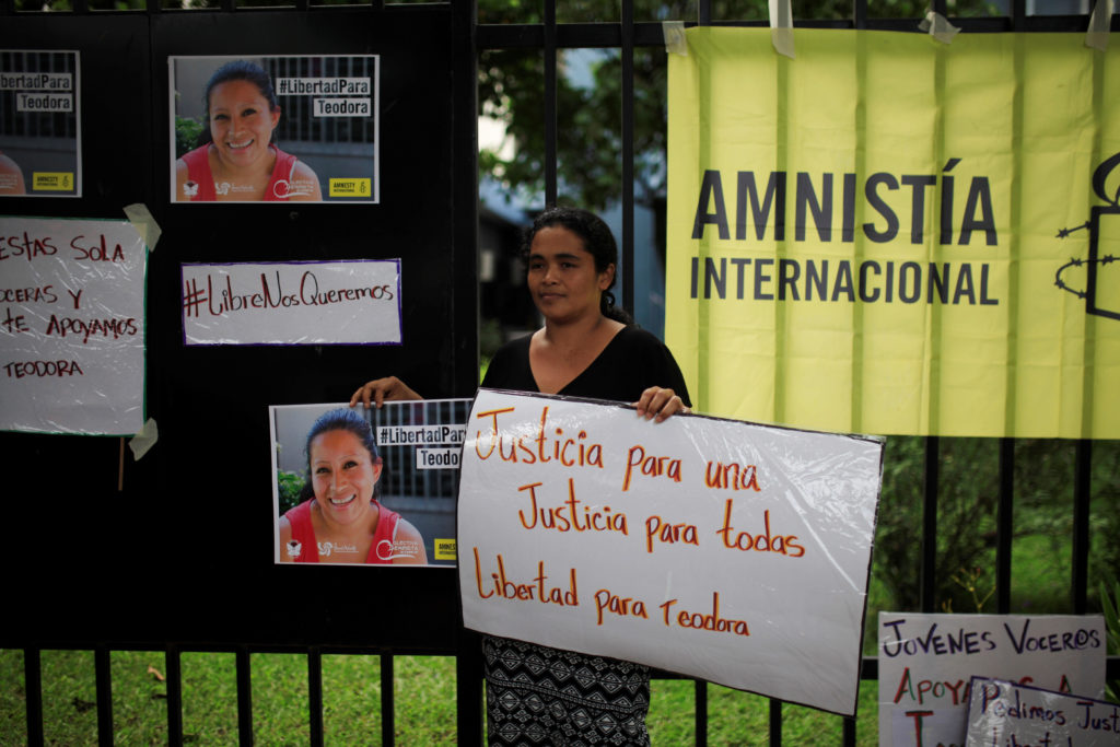 G8XMNK Maria Teresa Rivera, who was recently release from jail, participates in a protest to ask for the release of Teodora del Carmen Vasquez, who was sentenced to prison for 30 years for aggravated homicide after suffering a still-birth at work, in San Salvador, El Salvador June 29, 2016. REUTERS/Jose Cabezas