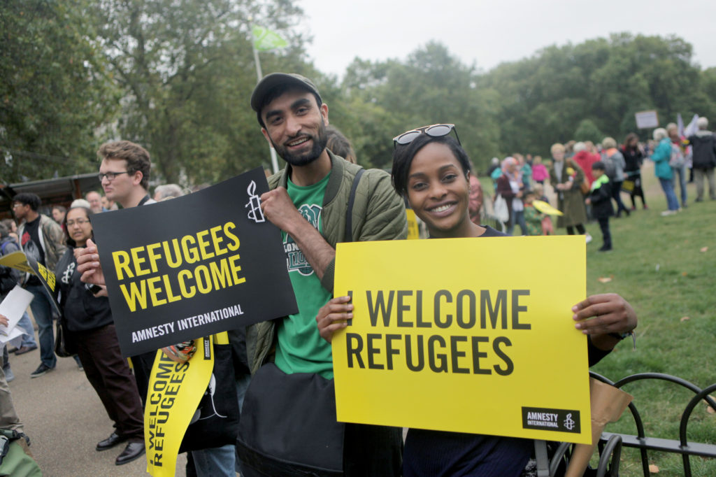 Refugees Welcome march organised by Amnesty International UK in partnership with Solidarity with Refugees and more than 40 other UK organisations. 30,000 people attended the march calling on the UK government to do more in response to the global refugee crisis ahead of the UNGA summit on refugees and migrants on 19th September 2016.