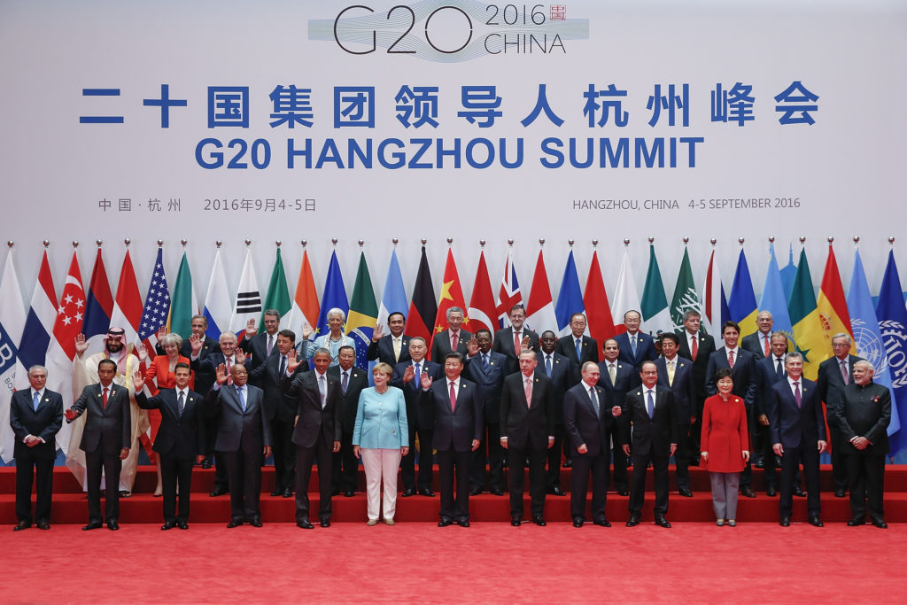 HANGZHOU, CHINA - SEPTEMBER 04:  Leaders pose for a group photo during the G20 Summit in Hangzhou on September 4, 2016 in Hangzhou, China. World leaders are gathering in Hangzhou for the 11th G20 Leaders Summit from September 4 to 5.  (Photo by Lintao Zhang/Getty Images)