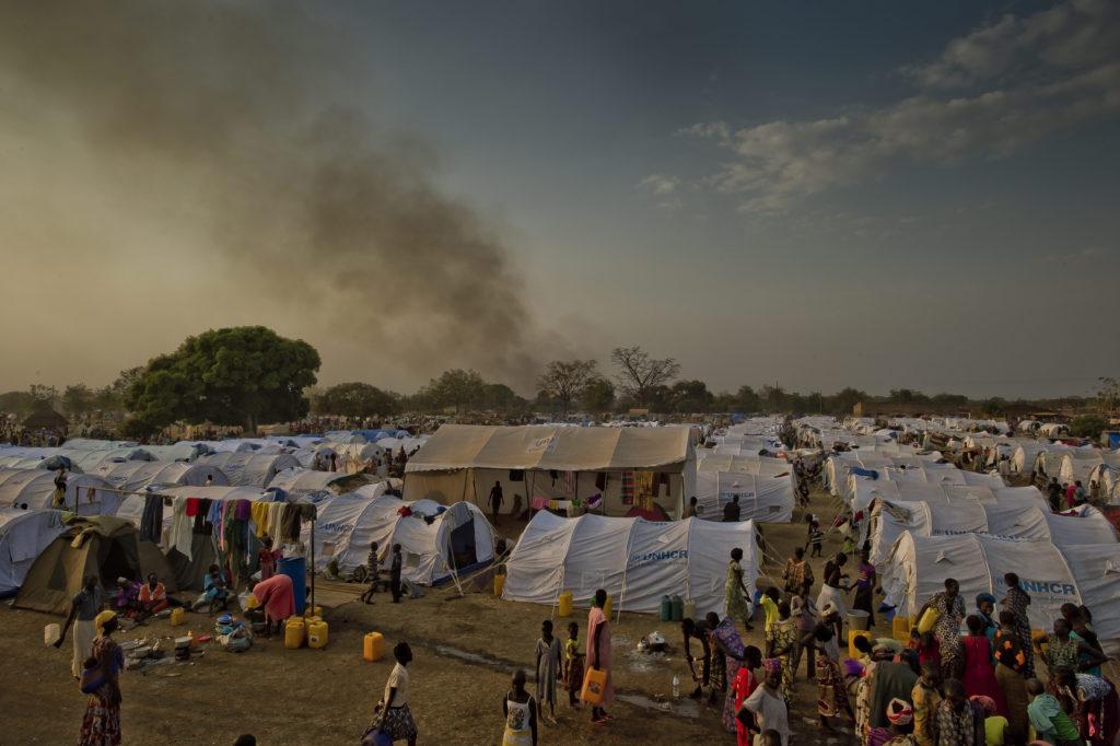 South Sudanese refugees at Dzaipi 2 transit centre, Uganda, January 2014.