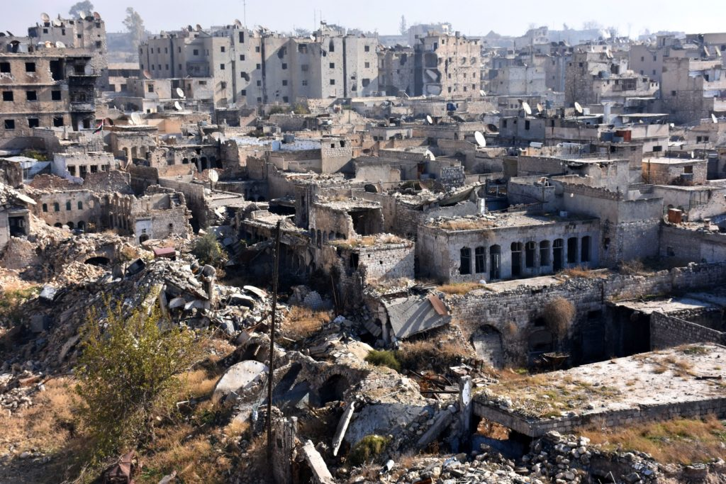 A general view shows damaged buildings in the Qastal al-Harami neighborhood of Aleppo's Old City on December 9, 2016.  Syria's government has retaken at least 85 percent of east Aleppo, which fell to rebels in 2012, since beginning its operation on November 15. / AFP / George OURFALIAN        (Photo credit should read GEORGE OURFALIAN/AFP/Getty Images)